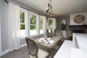 Dinning Room with Beautiful White Double Hung Windows